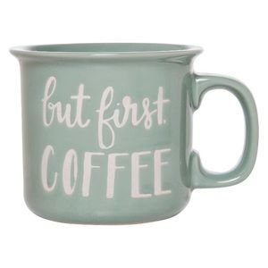 Large 15 oz Sage green But First Coffee mug, NWOT